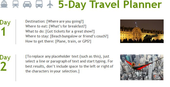 5-Day Travel Planner Template