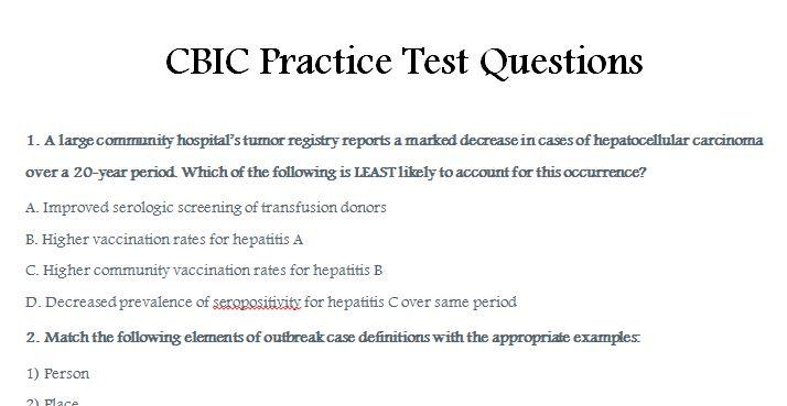 CBIC Practice Test Questions