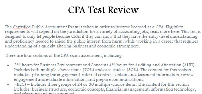 CPA Test Review