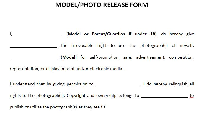 Photography Model Release Template  Resume Ideas  NamanasaCom
