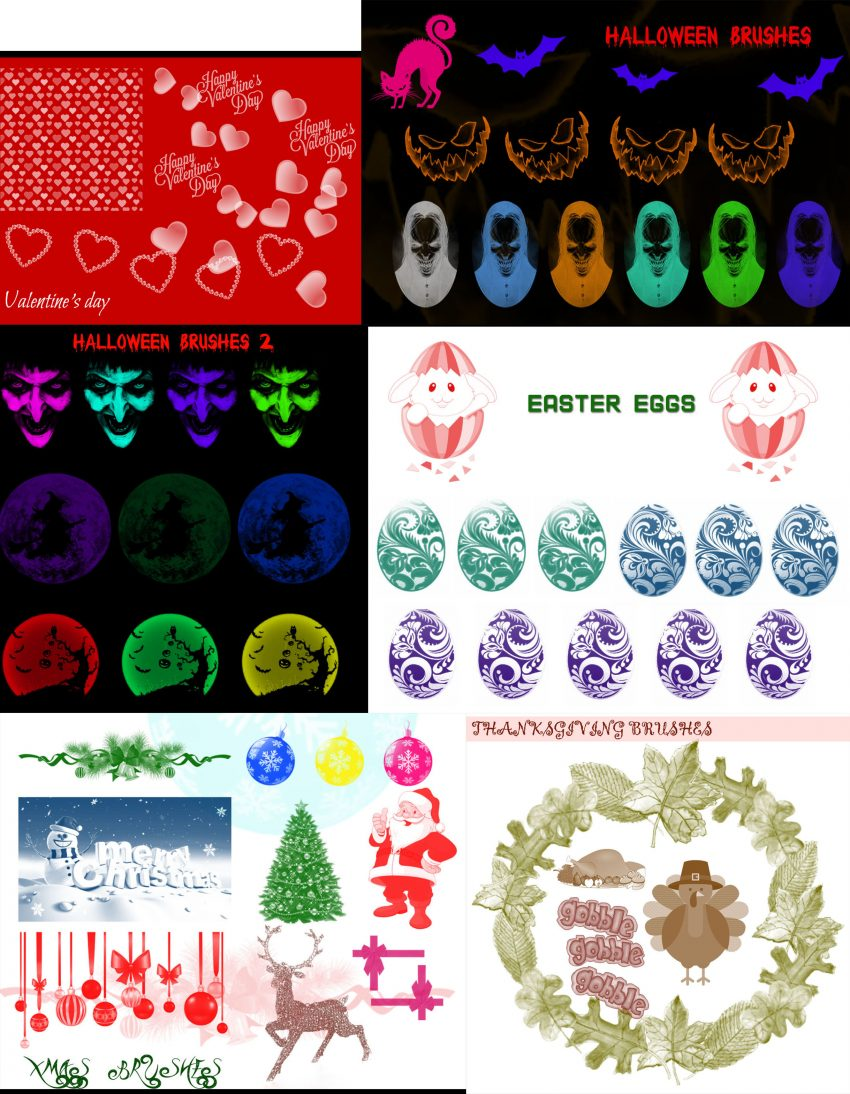 Holiday Photoshop Brush Templates
