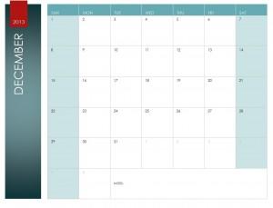 Excel December Calendar Template