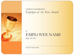 Screenshot of the Employee of the Year Certificate template