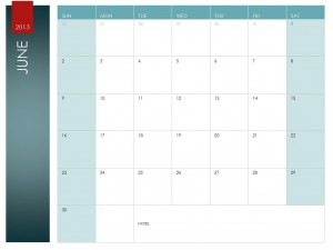 June Calendar template screenshot