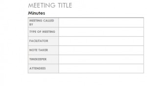 Screenshot of the Outlook Meeting Minutes Template