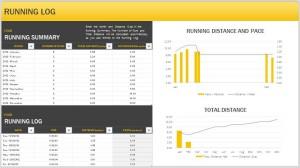 Screenshot of the Running Log Template