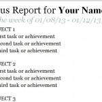 Status Report Template screenshot