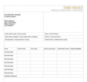 Screenshot of the Time Sheet Template