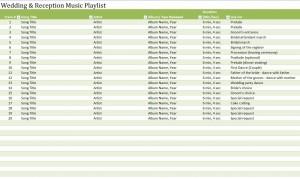 Screenshot of the Wedding Reception Music Playlist