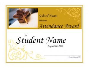 Screenshot of the Attendance Award Template