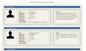 View of the Employee Profile Template