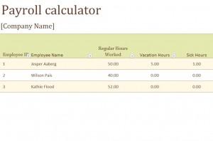 Screenshot of the Payroll Calculator