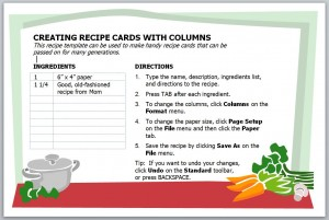 Screenshot of the Recipe Card Template