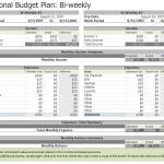 Screenshot of the Biweekly Budget Template