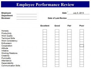 Screenshot of the Performance Review Template