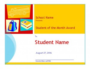 Screenshot of the Student of the Month Template