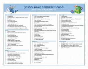 Free School Supplies Checklist