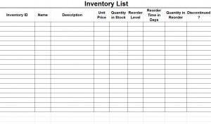 Free Inventory List