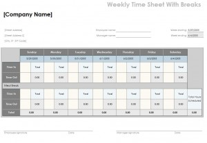 Timesheet Calculator With Lunch Break Template Template Haven