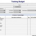 Training Budget Spreadsheet Free