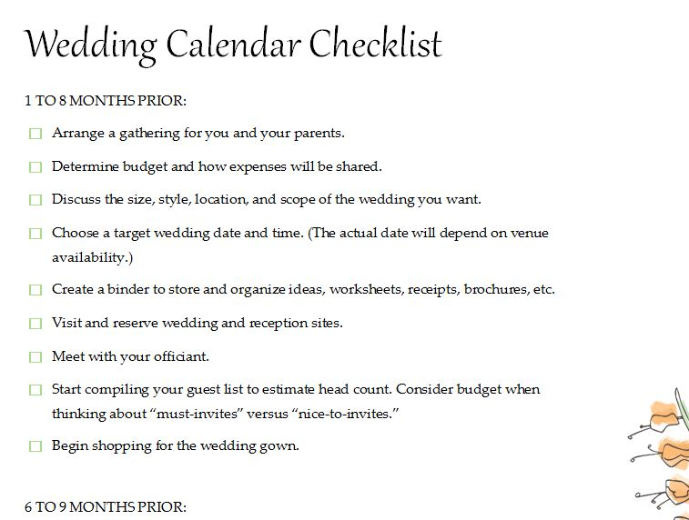 Calendar Wedding Checklist