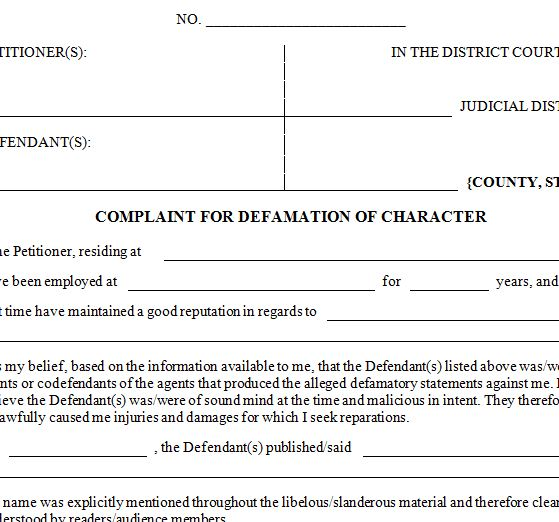 Defamation Of Character Letter Template from templatehaven.com
