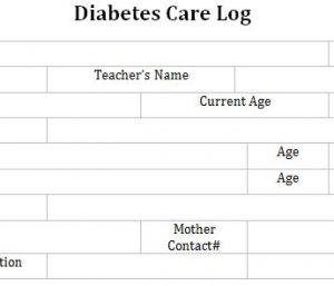 Diabetes Care Log for School
