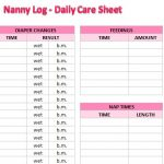 Nanny Log Daily Care Sheet
